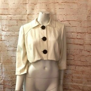 Kay Unger 10 Cream Cropped Jacket Large Buttons